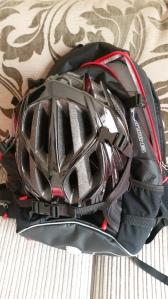 Helmet on rucksack